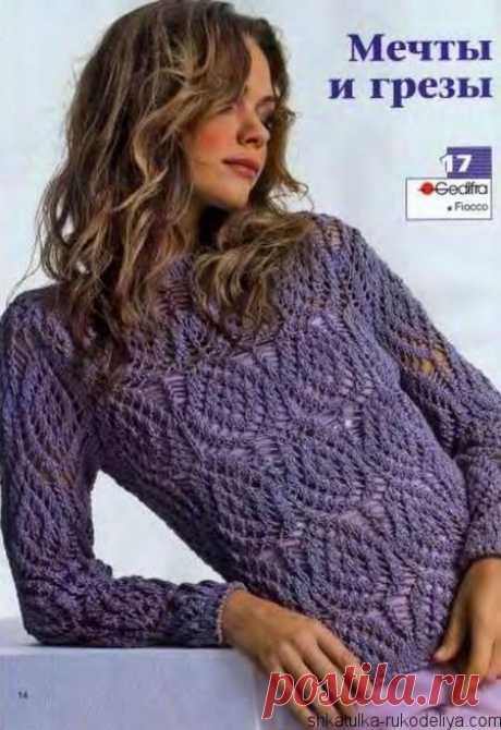 Сиреневый пуловер Сиреневый пуловер спицами. Женский пуловер красивым узором спицами для весеннего гардероба. Схемы вязания пуловеров спицами с описанием…