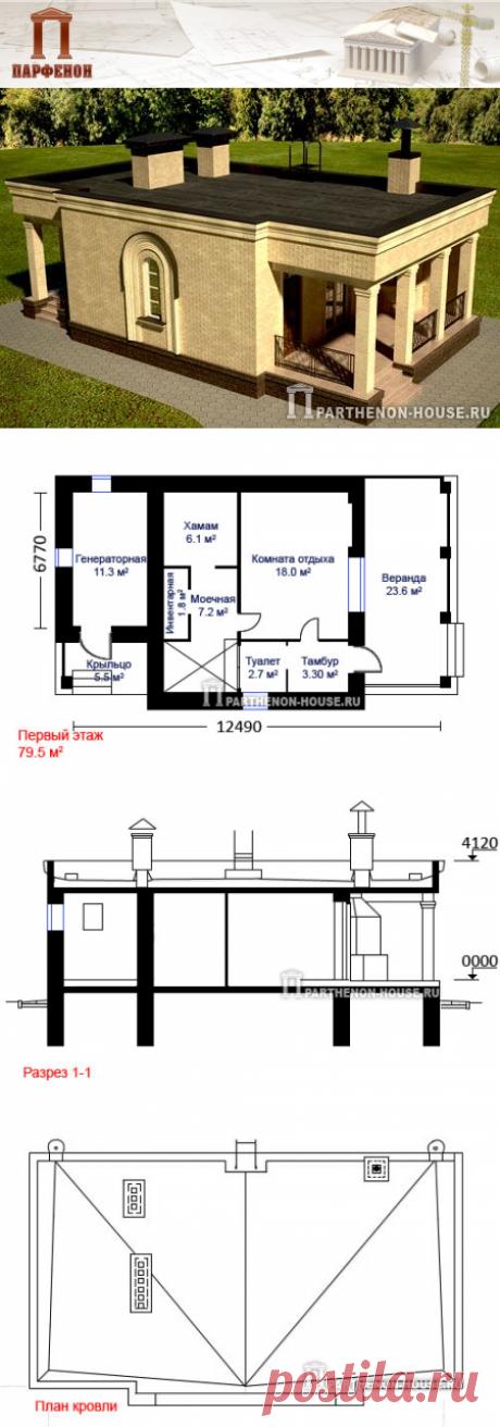 Проект кирпичной одноэтажной бани ЭББ 79-5  Площадь общая: 79,50 кв.м.  Площадь жилая: 18,00 кв.м.  Высота этажа: 3,00 м.   Технология и конструкция: строительство бани из кирпича.  Наружные стены: кирпичные с утеплителем.  Перекрытие: сборный железобетон.  Фундамент: монолитный ж/б.