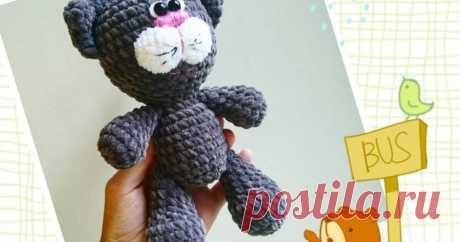 Плюшевый котик крючком // мастер-класс toyfabric кот связан из плюшевой пряжи - скачайте описание и свяжите такого же