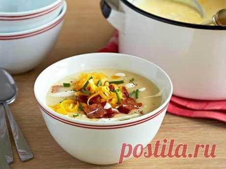 Суп из печёного картофеля с беконом, сыром и сметаной рецепт | Гранд кулинар