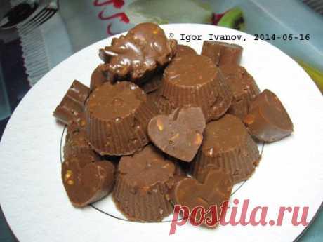 Конфеты Шоколадно-ореховые на варёной сгущёнке. Фоторецепт..