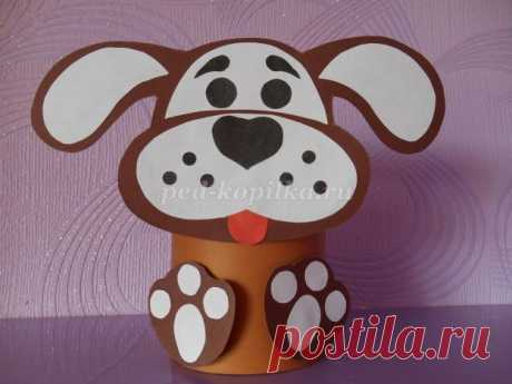 Объёмная собака из картона детскими руками