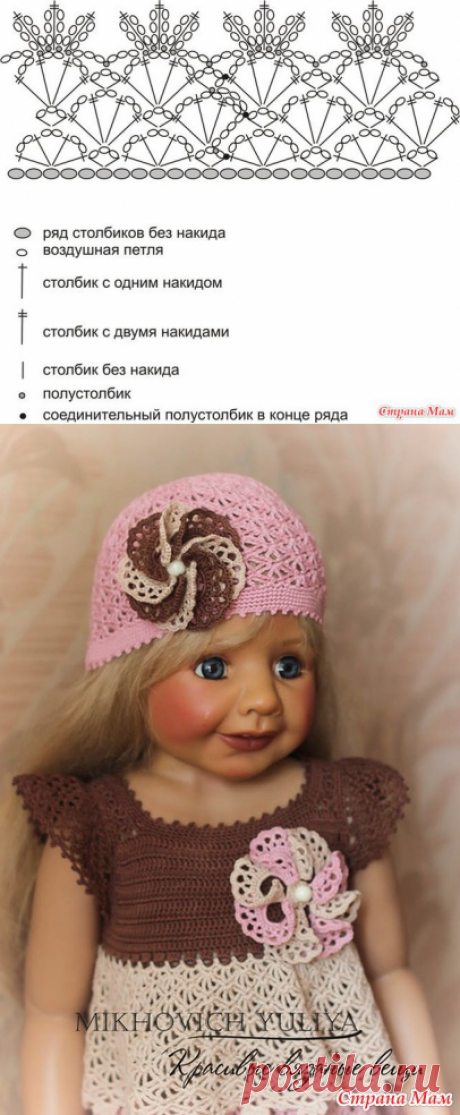 """Openwork summer hat """"Красавица саванна&quot hook; - Knitting for children - the Country of Mothers"""