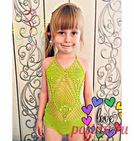 Желтый детский вязаный купальник. Схемы Поставьте свою оценку, нам важно ваше мнение 🙂 На возраст 5 лет, рост 110 см.