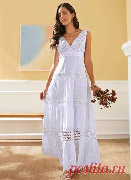 Элегантное длины макси Платья цвета сплошного без рукавов - Floryday