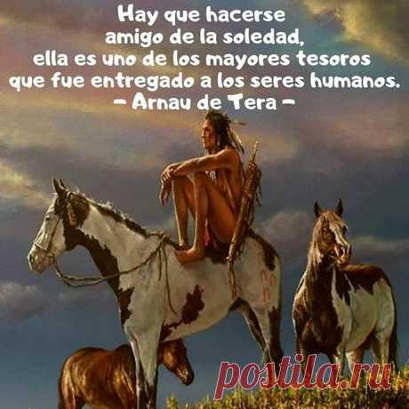 """Photo by Arnau de Tera on April 17, 2020. La imagen puede contener: una persona, caballo, texto que dice """"Hay que hacerse amigo de la soledad, ella es es uno de los mayores tesoros que fue entregado a los seres humanos. Arnau de"""""""