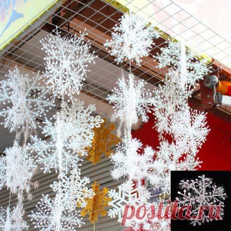 30 шт. Снежинка рождественские украшения, елочные украшения фестиваль праздник партии Home Decor украшения Навидад подарок на Новый год купить на AliExpress