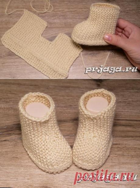 Самые простые пинетки – сапожки спицами Вязание, вязание спицами, вязание крючком, узоры, узоры спицами, узоры крючком,