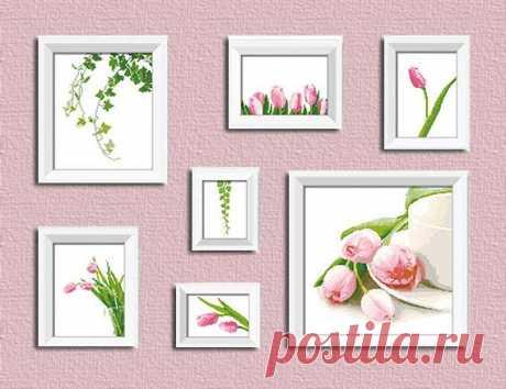 Схемы для вышивки красивых и нежных цветов — «Тюльпаны» — HandMade