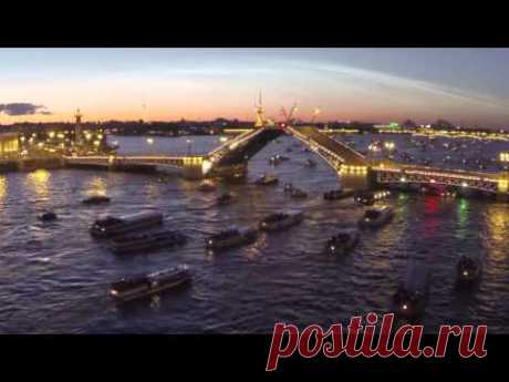 St. Petersburg, the white nights, cultivation of bridges - shooting from the quadcopter