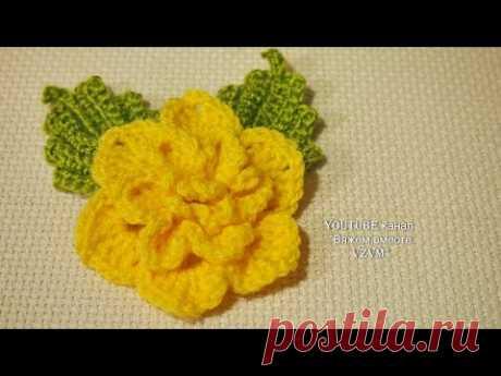 Вязаный цветок. Вязание для начинающих Урок 205 Knitted flower