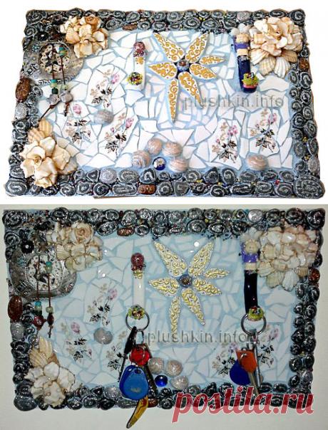 Ключница своими руками с мозаикой из тарелок, гальки и ракушек