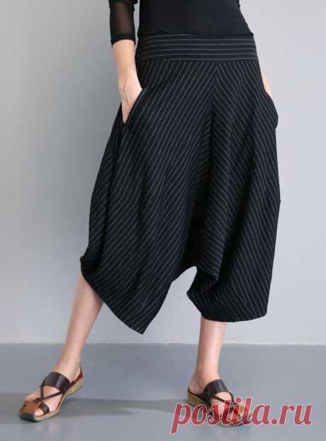 Black and white striped harem pants-Seven points Harem pants | Etsy