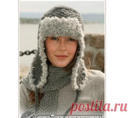 Вязание спицами шапки ушанки – Дропс вязание