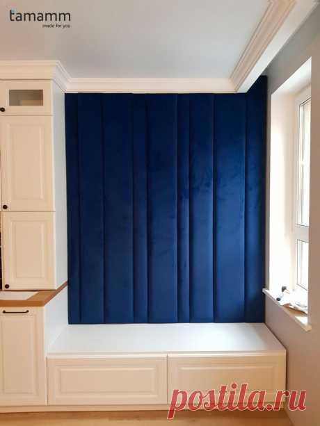 Синяя стеновая панель(линии) на заказ по индивидуальным размерам