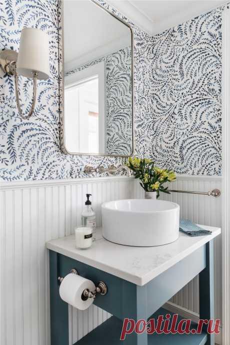Обои для ванной комнаты: винил, стеклообои, жидкие обои, можно ли клеить обои в ванной комнате   Houzz Россия