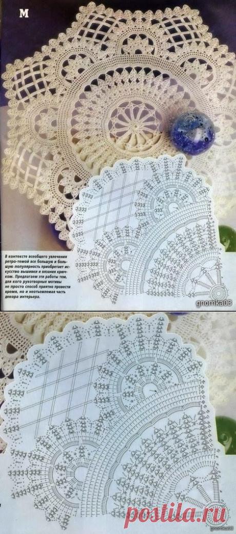 Модели вязания со схемами и описаниями: Салфетка винтажная