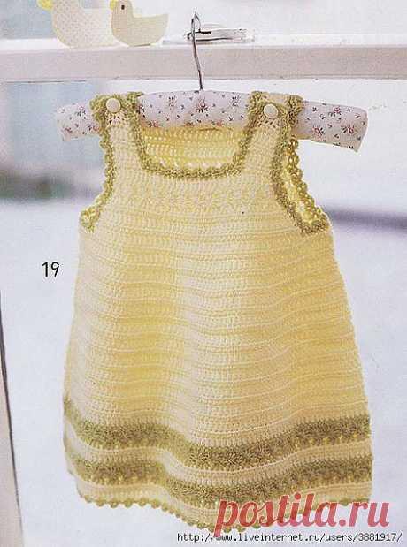 El vestido-sarafán infantil. Hay un esquema de la labor de punto.