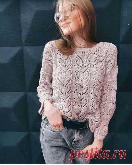 Роскошный узор для пуловера спицами