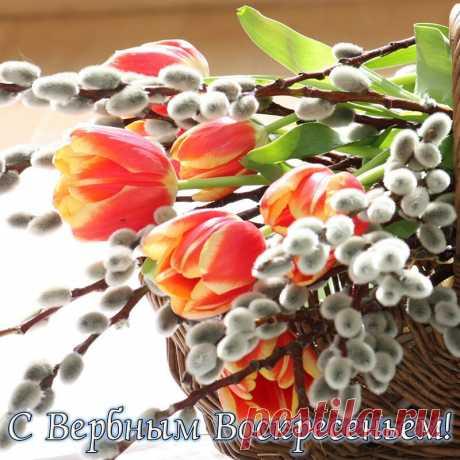 Открытка - Корзинка с веточками вербы и тюльпанами к Вербному Воскресенью