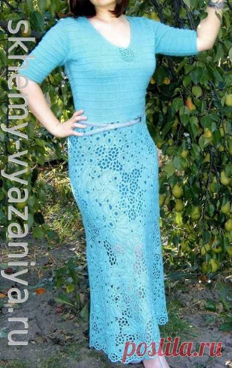 Бирюзовое платье в пол с юбкой фриформ - схема вязания с описанием бесплатно