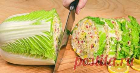 Гениальный салат из пекинской капусты — и вкусно, и очень красиво.
