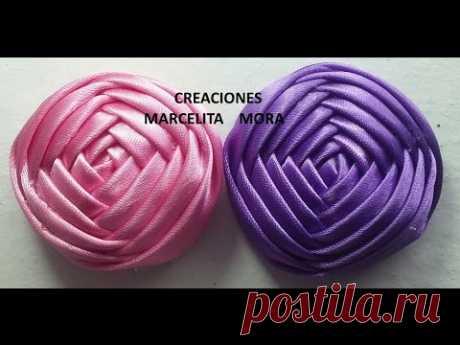 Boton Flor en Liston  (4lados)DIY-How to make Flower a Ribbon Rose Tutorial