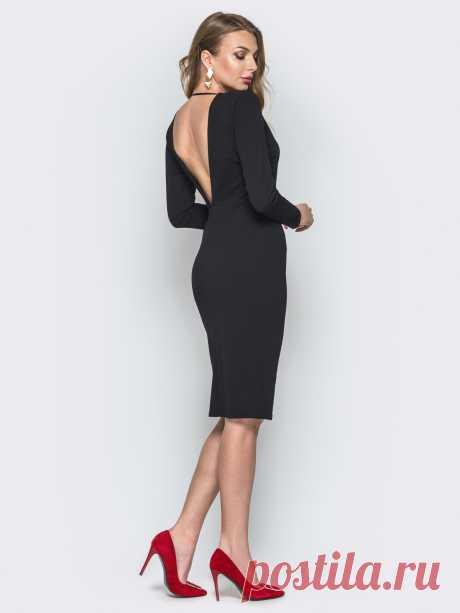 Чёрное платье-футляр с глубоким V-вырезом сзади 19857 – купить в Киеве, Украине в розницу | цены интернет-магазина Dressa