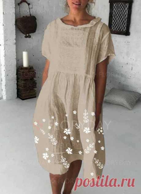 Casual Floral Shirt Round Neckline Shift Dress - Floryday
