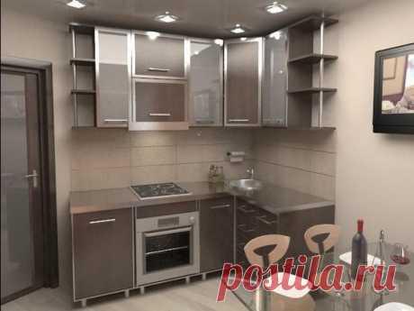 La cocina de escaso volumen en el estilo el escándalo-corría — el ejemplo bueno del uso de las recepciones distintas de diseñador para un pequeño espacio