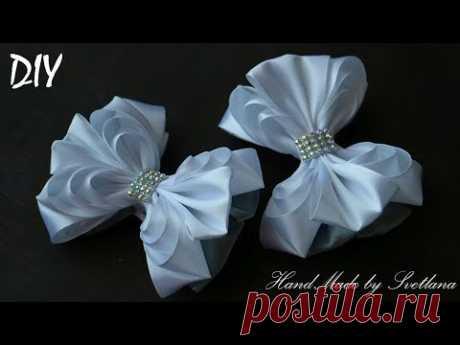 Бантики из лент ШКОЛЬНЫЕ КАНЗАШИ DIY Bows made of ribbon Kanzashi Laço de Cetim Curva da fita 8