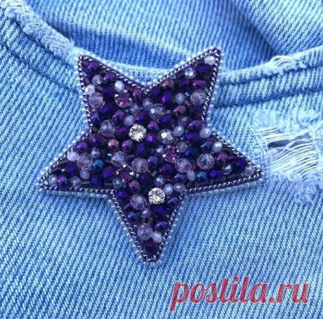 """Брошь """"Звезда"""" @daria_alexandrovna_12 Тёмно фиолетовый металлик и нежно розовый💜💗 Вместе эти цвета дают просто потрясающий эффект 😍 Мини кристаллики Swarovski💎"""