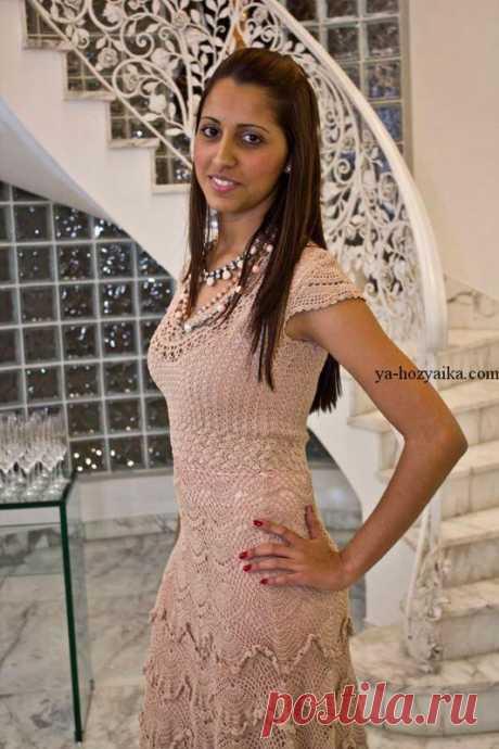 Платье крючком отДжованны Диас схемы. Нарядное платье крючком схемы