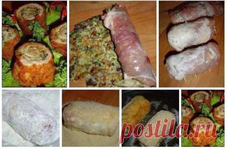 """Закуска """"Пенечки""""   Ингредиенты:  250 г свинины  50 г грибов (шампиньоны)  3 яйца  1/2 лука  30 г муки  сухари панировочные  масло растительное  зелень  соль  перец черный (молотый)   Приготовление:  1. Начинаем работу с приготовления омлета. Обжариваем лук и грибы. Взбиваем яйца, добавляем нарезанную зелень, муку, грибы с луком, перемешиваем, выливаем на сковороду и обжариваем с двух сторон омлет.  2. Отрезаем свиной биток и хорошо отбиваем его с двух сторон. Солим и перч..."""
