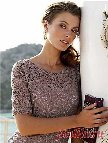 La elegancia chiné. Tejemos el vestido hermoso. Los esquemas.