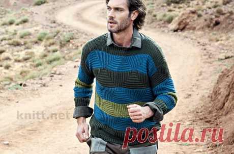 Мужской пуловер в широкую полоску