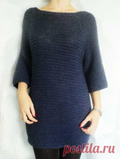 Платье регланом сверху спицами