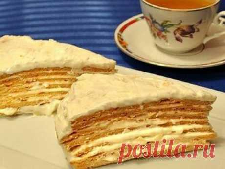 Торт Парижский коктейль имеет чудесный аромат и уникальный вкус – он просто таит во рту Торт Парижский коктейль удивительно вкусное лакомство, торт готовится из заварного теста и крема. Обязательно попробуйте приготовить это блюдо. Рекомендую Вам! Ингредиенты:  3 ст. ложки меда.  150 гр сахара.  3 ст. ложки растительного масла.  180 мл горячей воды.  500 гр муки.  1 ч. ложка соды. Крем:  250 гр сливочного масла.  600 мл молока.  3 яйца.  1 ст. ложки муки.  1 стакан сахара....