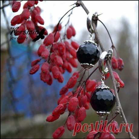 Серьги Черная роза: Обсидиан, Серебро 925 пр, купить за 2 400руб.