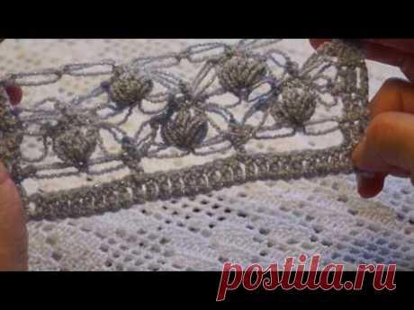 "Узор крючком ""Голубой трилистник""- Beautiful crochet pattern (узор#86)"