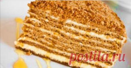Простой рецепт вкуснейшего медового торта Представляем вам прекрасный рецепт медовика, который получается обалденно вкусным и практически тает во рту.