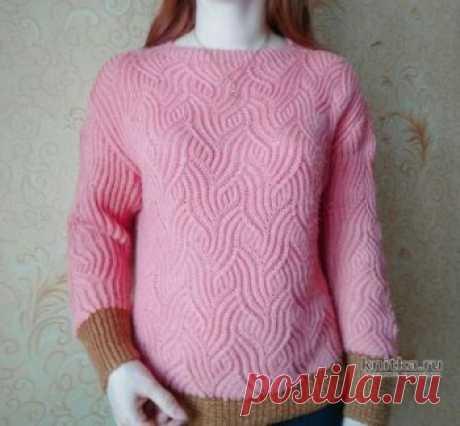 Пуловер с рельефным узором в технике бриошь. Работа Вагановой Татьяны,  Вязание для женщин Пуловер с рельефным узором в технике бриошь. В комментариях видела досаду любительниц вязания на то, что нет описания больших размеров. Предлагаю вашему