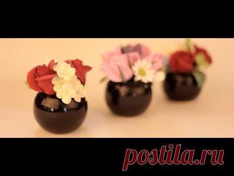 Küçük Saksılara Sanat Kili ile Çiçek Yapımı