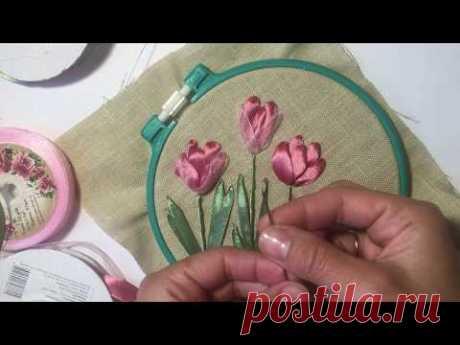 Крокусы вышитые лентами / Crocuses embroidered ribbons