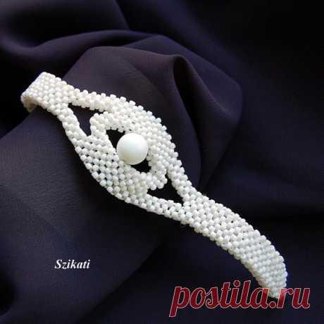 Белый браслет из бисера бисероплетение для новобрачных заявление по Szikati