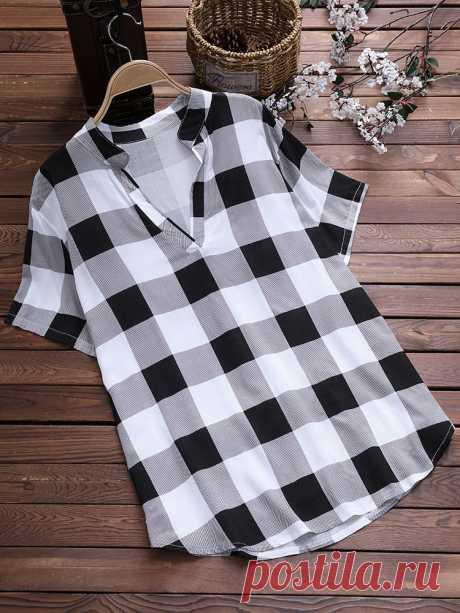 Vintage V шеи плед рубашки для женщин Посетите Newchic, чтобы получить подарок US$60 для нового пользователя ! Получите бесплатную доставку и возврат в течение 14 дней или гарантия возврата денег.@Newchic, ваш первый выбор для онлайн-покупок