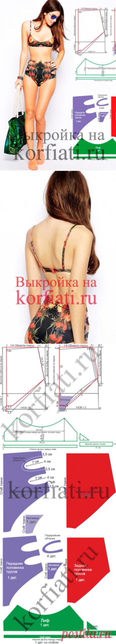 Выкройка бикини от Анастасии Корфиати по желанию,выкройку лифа можно взять из другой модели.