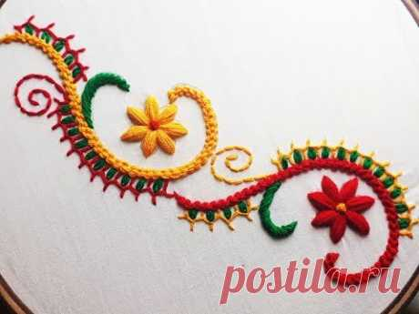 Hand embroidery beautiful border design | Border design tutorial