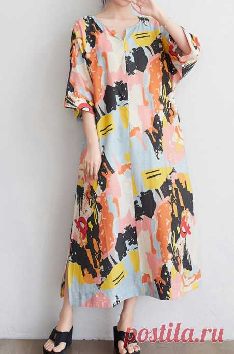 Loose Printed dress Half sleeve Midi Dress long summer | Etsy