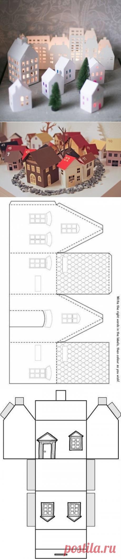 Бумажные домики для Новогоднего декора. Шаблоны.